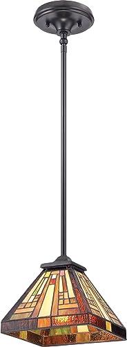 Quoizel TFST1508VB Stephen Tiffany Mini Pendant Ceiling Lighting, 1-Light, 100 Watt, Vintage Bronze 7 H x 8 W