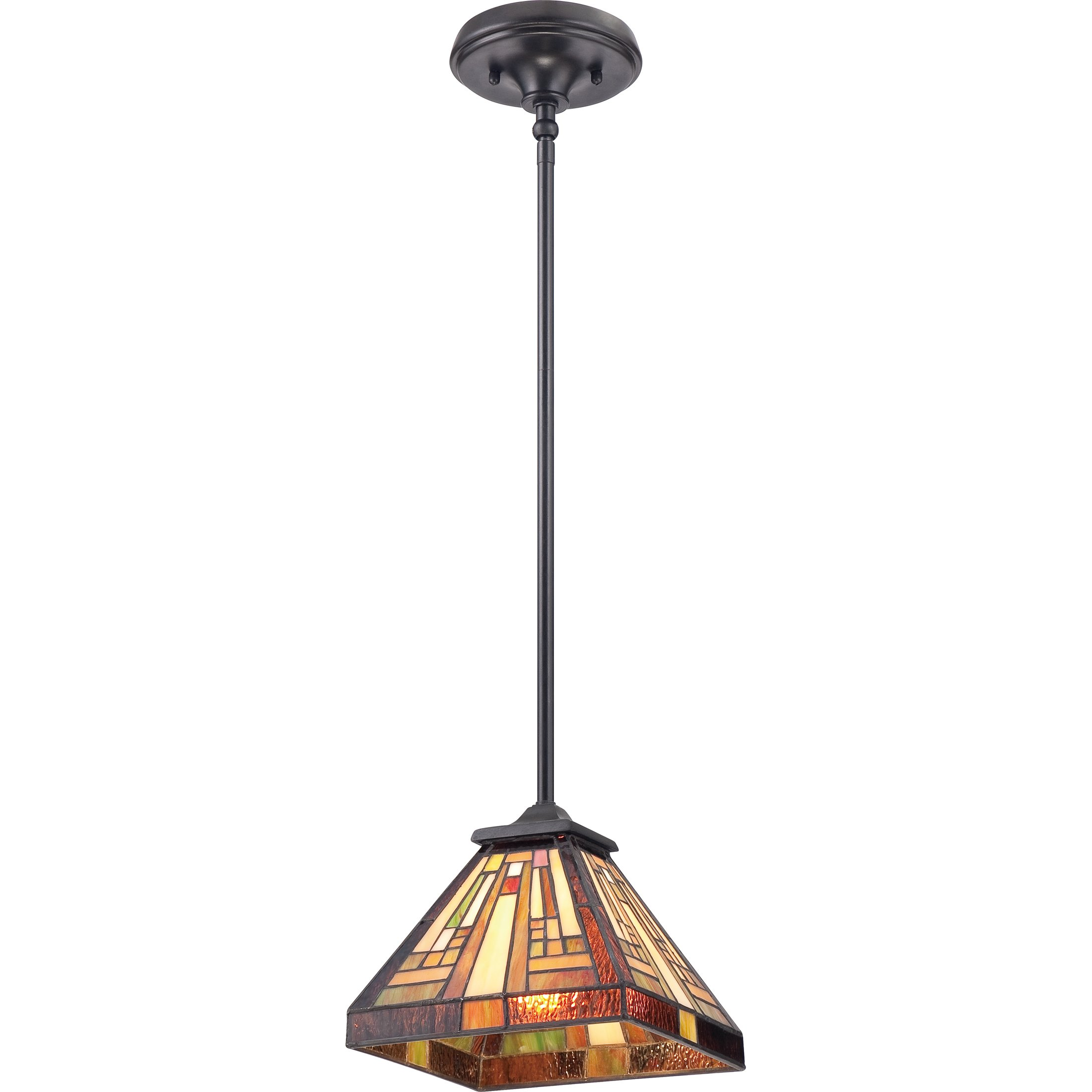 Quoizel TFST1508VB Stephen One Light Vintage Bronze Mini Pendant, 8 inches, Tiffany Glass Shade by Quoizel