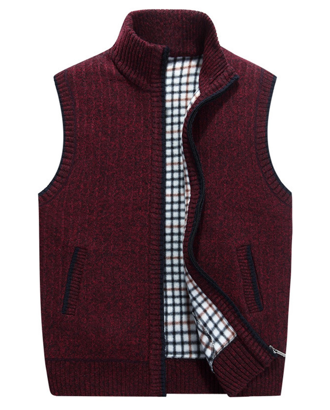 HOW'ON Men's Stand Collar Loose Zipper Sleeveless Knitted Cardigan Sweater Vest Outwear Jacket