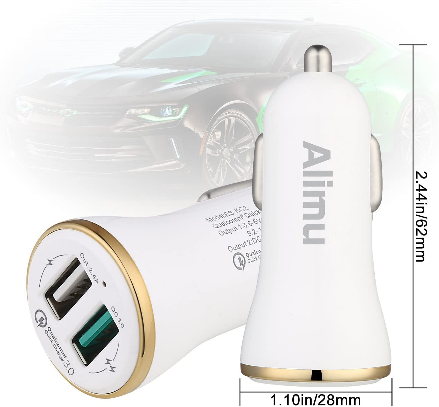 Alimu Rapid Fast Car Charger with 6.6ft USB C Cable Works with LG G5,G6,G7,V20,V30,HTC 10 U11,Samsung Galaxy S8 S9 S10 Plus Edge,Note 8,Note 9 USB Type C Car Charger