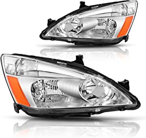 AUTOSAVER88 Compatible with 03 04 05 06 07 Honda Accord Headlight Assembly OE Headlamp Replacement, Chrome Housing Clear Lens
