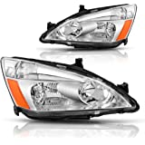 AUTOSAVER88 For 03 04 05 06 07 Honda Accord Headlight Assembly,OE Projector Headlamp,Chrome housing,One-Year Limited Warranty(Pair,HO2502120&HO2503120)