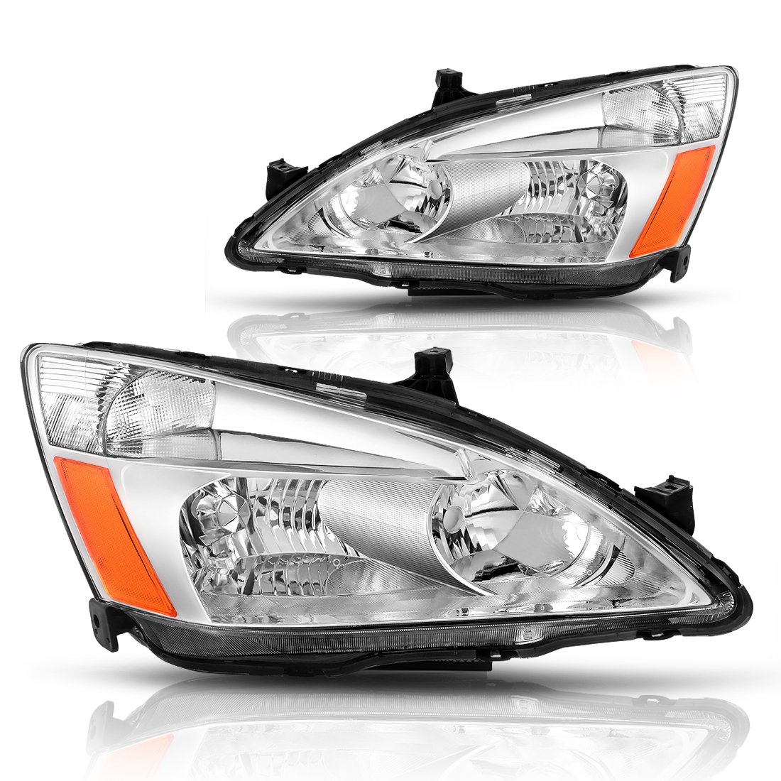 AUTOSAVER88 For 03 04 05 06 07 Honda Accord Headlight Assembly OE Headlamp Replacement, Chrome Housing Clear Lens, One-Year Limited Warranty(Pair,HO2502120&HO2503120) Honda Accord 2003-2007