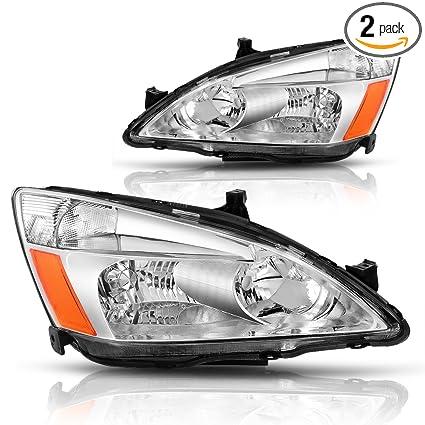Honda Accord Headlights >> Autosaver88 For 03 04 05 06 07 Honda Accord Headlight Assembly Oe Headlamp Replacement Chrome Housing Clear Lens Pair Ho2502120 Ho2503120