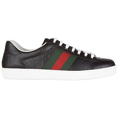 Gucci Chaussures Baskets Sneakers Homme en Cuir Signature Noir ... 32f94625df7