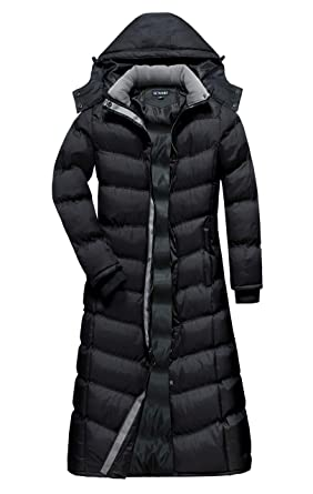 ae52a1122d6 U2Wear Women s Water Resistance Puffer Winter Full Length Coat with  Detachable Hood (S
