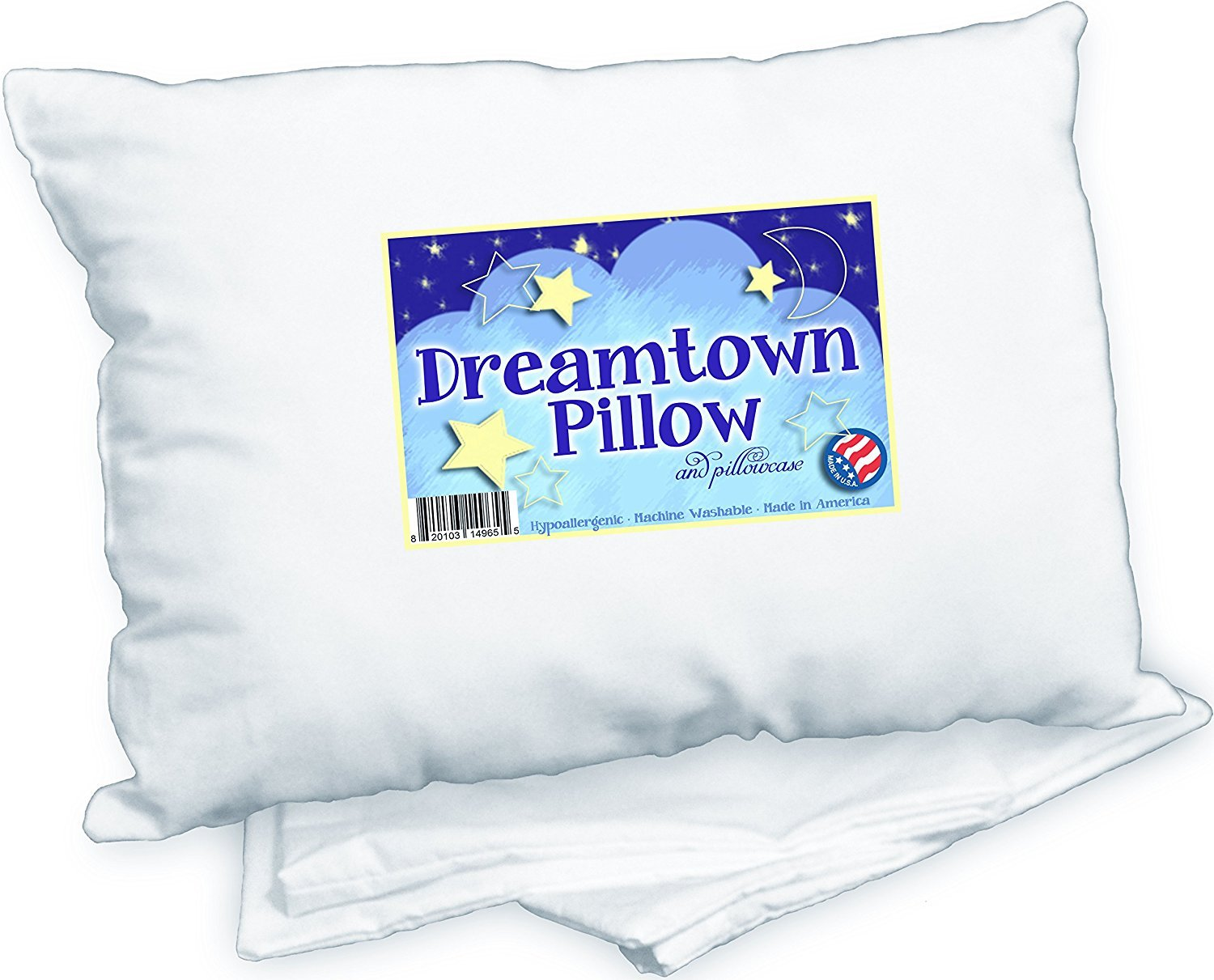 Toddler Pillow by Dreamtown Kids WITH PILLOWCASE For Kids Or Travel- Hypoallergenic (Ages 2-5) Chiropractor recommended for perfect neck safety. 14x19 inches with medium fluff makes the best size & thickness for sleeping in bed, crib, floor, carseat &a