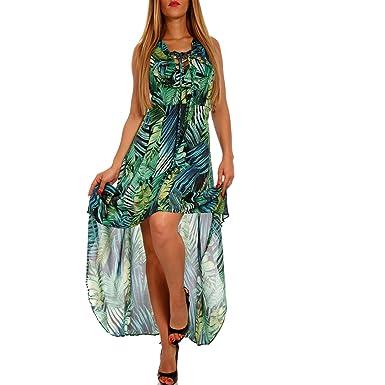 e66ee8ee9400 Vokuhila Kleid mit Ausschnitt - Als stylisches Strand-Kleid oder Party-Kleid  - Langes Kleid für Frühling, Sommer und Herbst  Amazon.de  Bekleidung