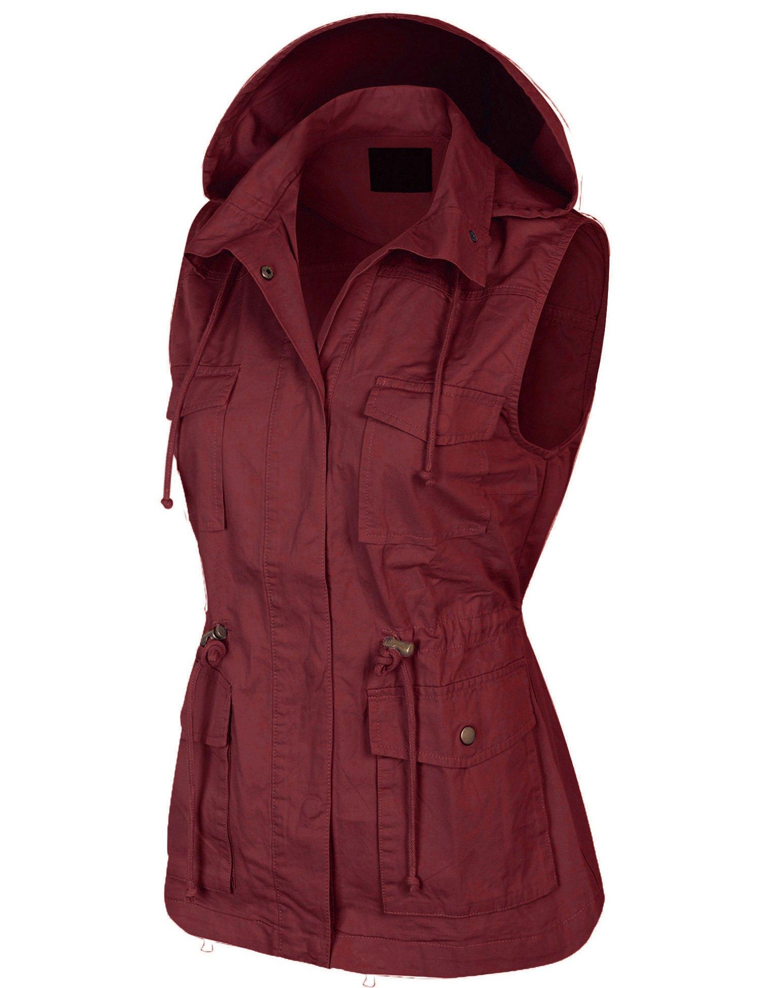 KOGMO Womens Military Anorak Safari Utility Vest with Hood-3X-WINE by KOGMO (Image #2)