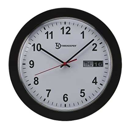 Timekeeper Meridian Office Wall Clock With White Face/Black Hands/Red  Second, 12