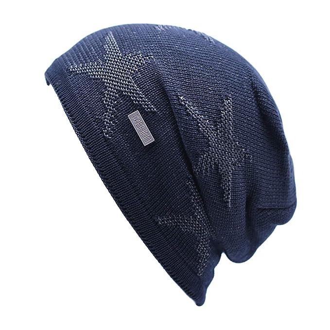 Feiboy Invierno Grueso Hombres Gorros De Punto Caliente Casual Sombrero  Tejido Cómodo Cálido Crochet de Hats Al Aire Libre Plegable Hat Acolchado  Suave ... f33434b4580