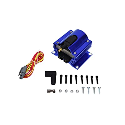 New A-Team Performance E-Core Ignition Coil Remote Billet Aluminum Male E-Coil 50,000 Volts Blue: Automotive