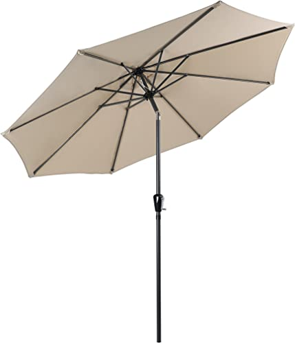 PHI VILLA 9 FT Patio Umbrella Table Umbrella with Push Button Tilt and Crank, Beige Base Not Included
