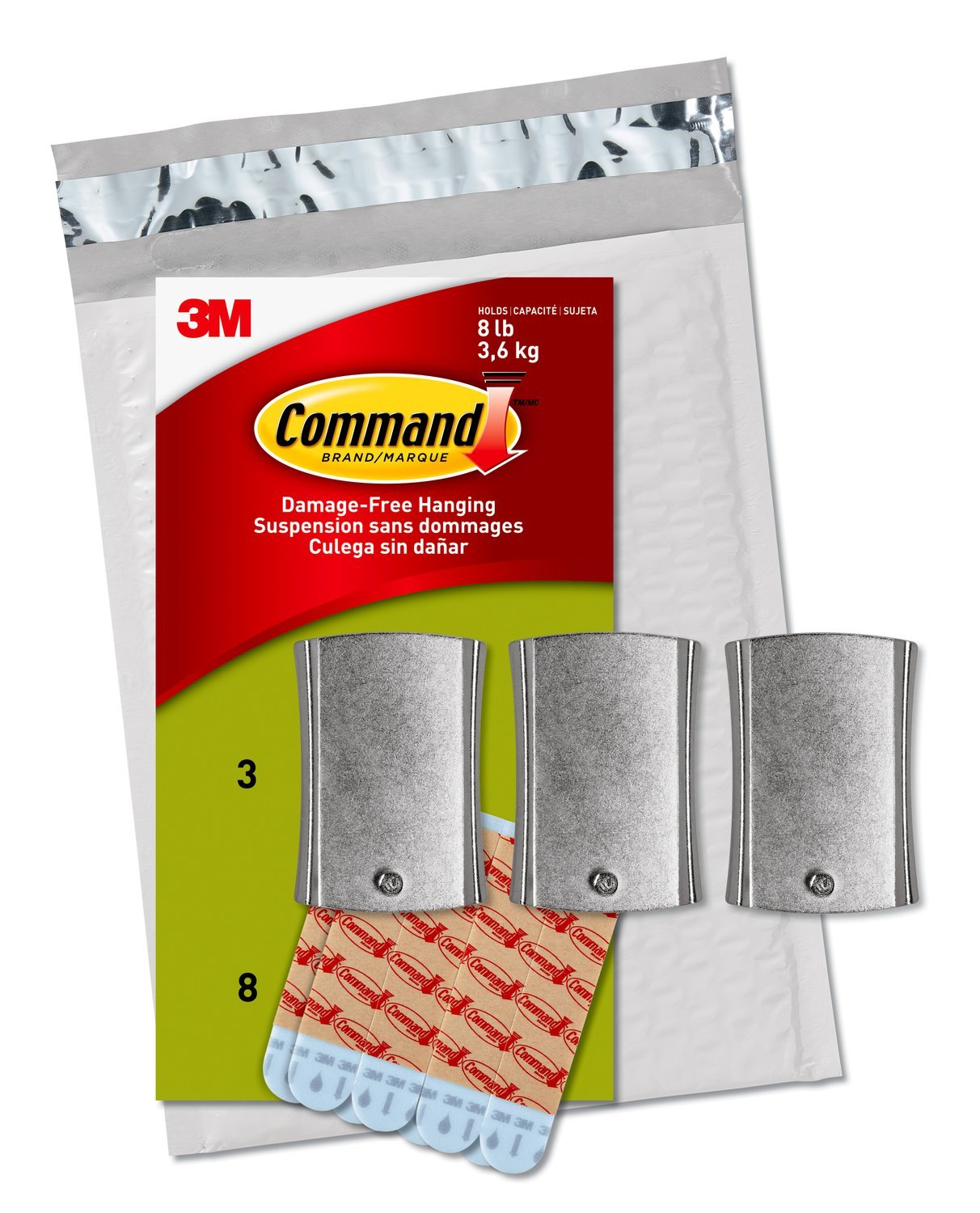 Command Jumbo Universal Picture Hanger, 3 Hangers (PH048-3NA) - Easy Open Packaging by Command