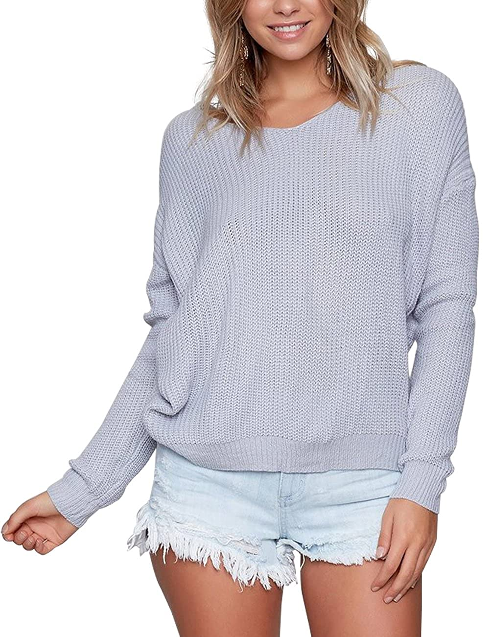 Eliacher Women Sweaters Casual Hollow Knit Top Blouse T-Shirt Loose Jumper Pullovers Not The Ball