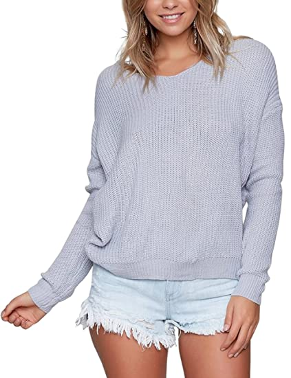 1386799b03cc92 Eliacher Women Sweaters Casual Hollow Knit Top Blouse T-Shirt Loose Jumper  Pullovers (Pale Blue