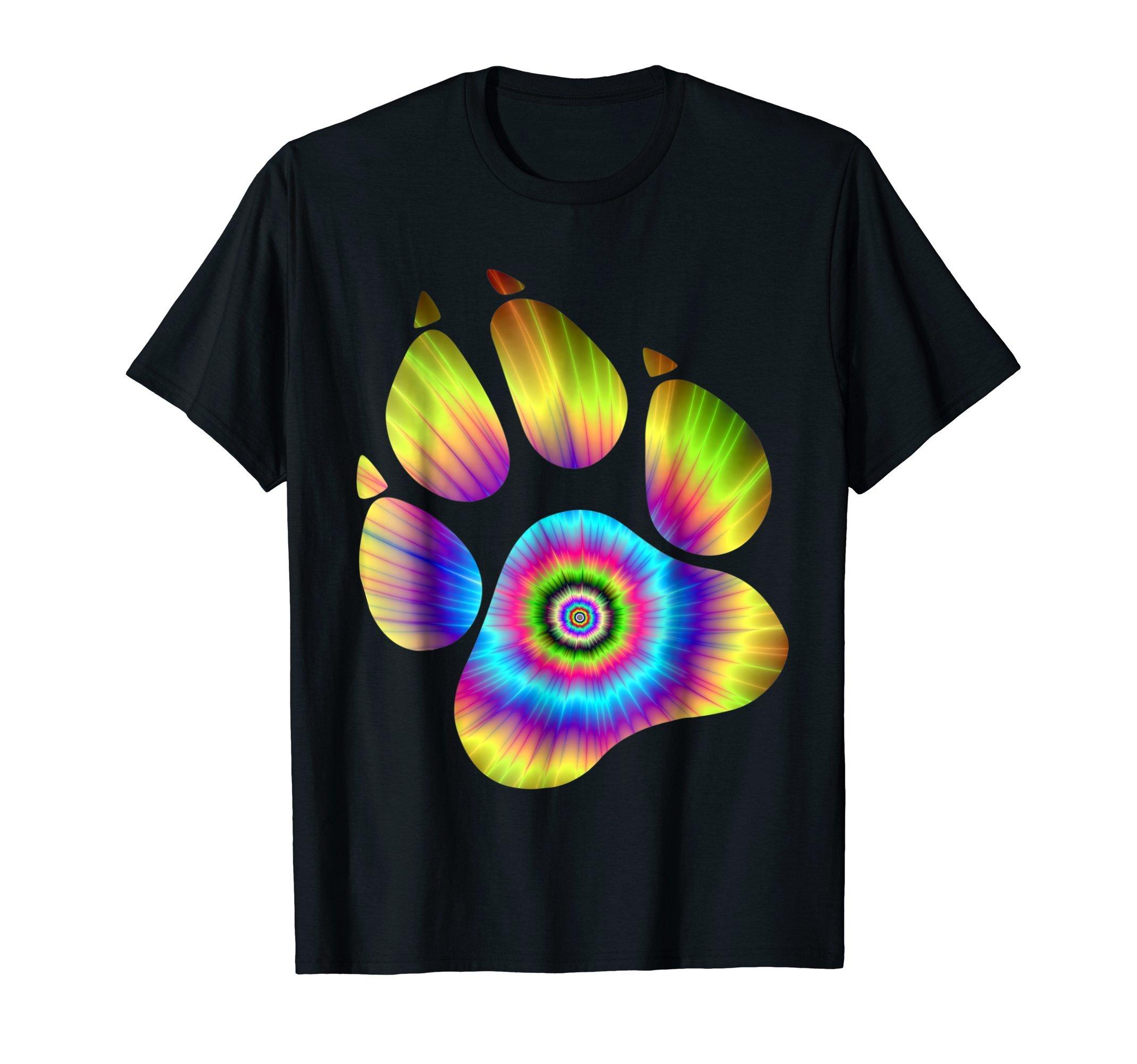 Tie Dye Animal Shirt Cat Dog Paw Print Shirt For Pet Lover
