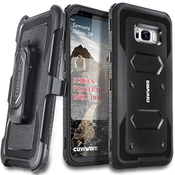 official photos 0c727 77799 Samsung Galaxy S8 Case, [Aegis Series] + Full-Coverage Screen Protector,  Heavy Duty Rugged Full-Body Armor Holster Case [Belt Swivel  Clip][Kickstand] ...