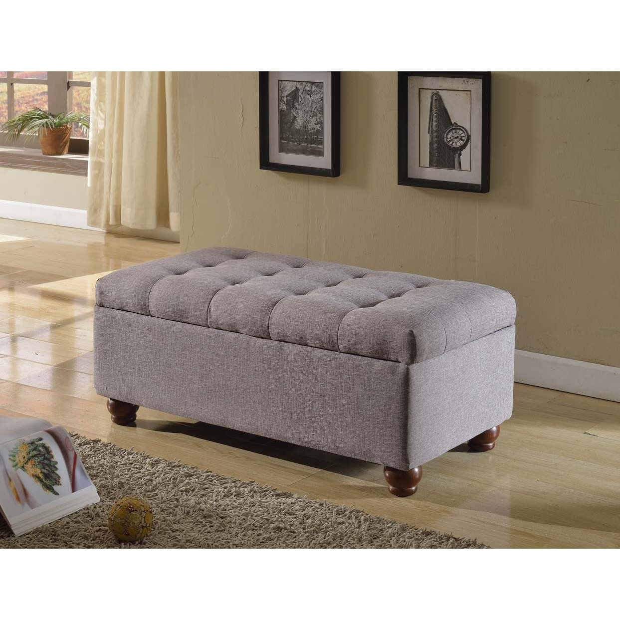 Amazoncom Tufted Linen and Upholstered Grey Storage Ottoman
