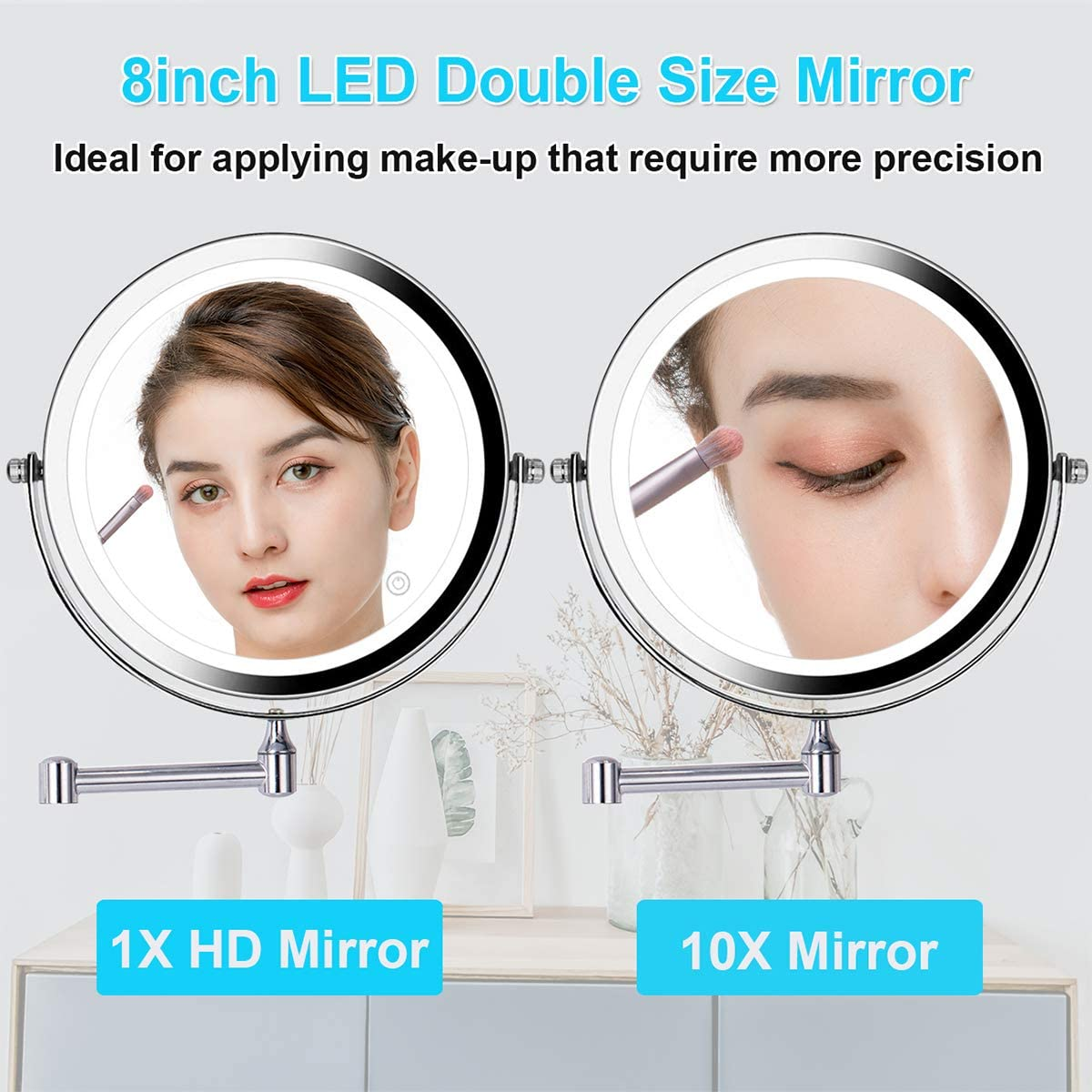 Wall Mounted Makeup Mirror 8 Inch 1X 10X Magnifying Double Sided Touch Button Adjustable Light 360 Swivel Extendable Vanity Mirror Chrome Finished for Bathroom Hotels Battery Powered Wireless