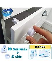 10 Bloque Porte Invisible + 2 clés + BONUS - NODI - HAUTE QUALITÉ - Sécurité placard et tiroir - bébé et enfant - Installation rapide - Utilisation Simple - Ultra résistant - BONUS Notice PDF + Vidéo