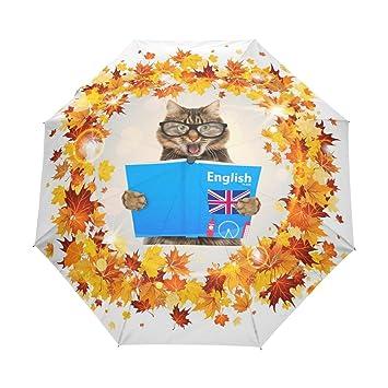 ablink hojas de arce Inglés gato automática Abrir y cerrar viaje paraguas resistente al viento resistente