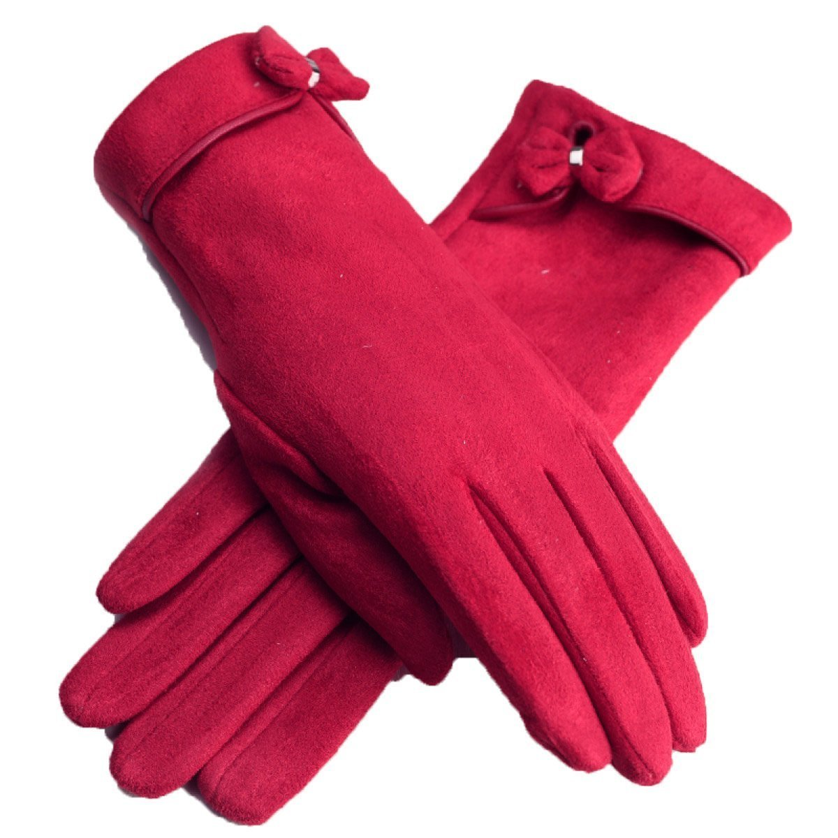 DIDIDD Capa doble grande de terciopelo rojo con engrosamiento de terciopelo Guantes de cinco dedos c...