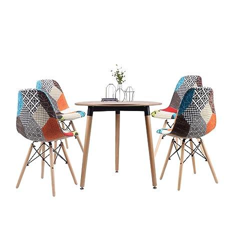 Jeffordoutlet Mesa de Comedor Redonda y 2 sillones de Madera ...