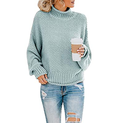 CharmYee Womens Turtleneck Color Block Oversized Crew Neck Striped Batwing Casual Long Sleeve Loose Knit Sweater Pullover at Women's Clothing store