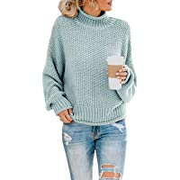 Womens Oversized Turtleneck Knit Sweaters Casual Chunky Baggy Pullover Batwing Long Sleeve Loose Tops