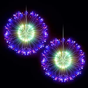 DenicMic Firework Lights Copper Wire LED Lights Battery Operated Fairy Lights with Remote, 8 Modes Starburst Lights, Decorative Hanging Lights for Patio Party Indoor Christmas Decoration (2 Pack)