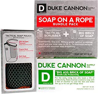 product image for Duke Cannon Supply Co. - Mens Soap On A Rope Tactical Scrubber Big Ass Bar of Soap Bundle (2 Piece Set) Includes Tactical Body Scrubber and Smells Like Productivity (Fresh, Energizing Mint) Bar Soap