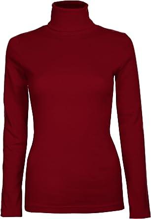 Brody & Co. para Mujer Polo Rollo de Cuello para Mujer Cuello Tops Exclusivamente by Plain Calidad de esquí Invierno elástico algodón Jersey Rojo: Amazon.es: Ropa y accesorios