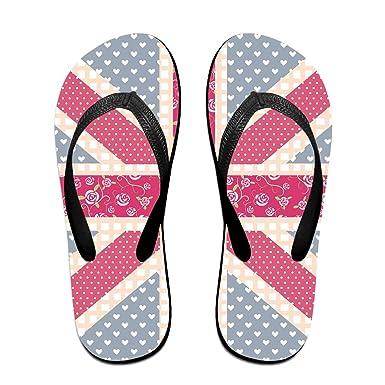 Couple Flip Flops England Flag Flower Print Chic Sandals Slipper Rubber Non-Slip Beach Thong Slippers