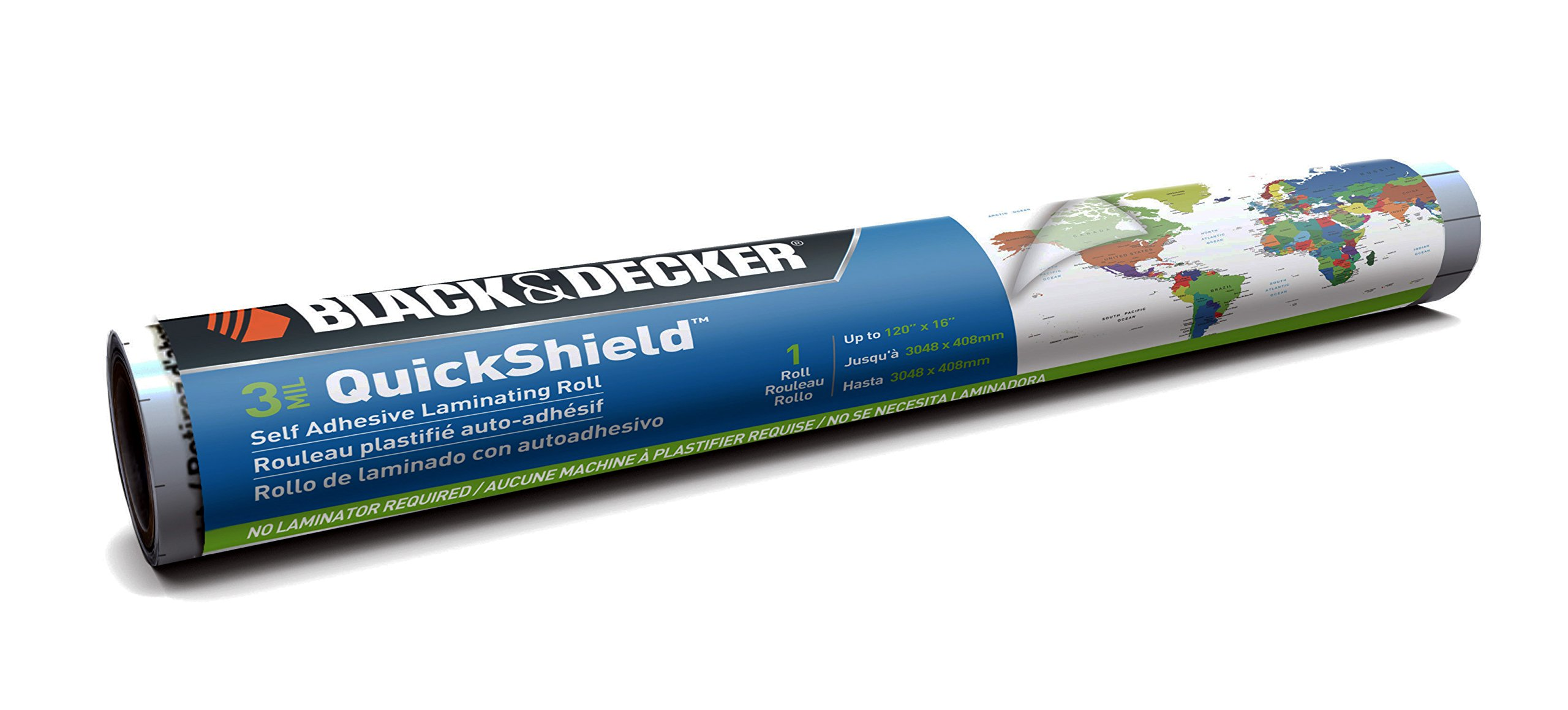 BLACK + DECKER QuickShield Self-Adhesive Laminating Roll, 3-mil, 16 Inches x 10 Feet (120-RSS) by Black and Decker Office Products