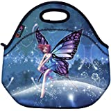 ICOLOR Cute Fairy Girls Insulated Neoprene Lunch Bag Tote Handbag lunchbox Food Container Gourmet Tote Cooler warm Pouch For School work Office