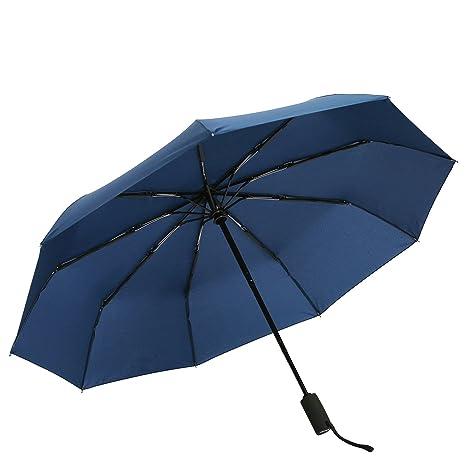 Paraguas de viaje resistente al viento, de secado rápido y apertura y cierre automáticos Azul