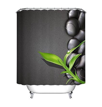 LB Green Bamboo Black Zen Stones Shower Curtain Set For Bathroom Massage Spa Meditation Decor
