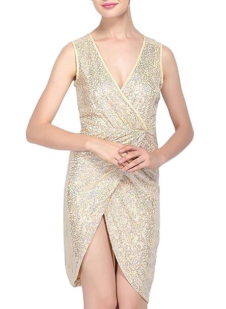 Azbro - Vestido - Sin mangas - para mujer amarillo S