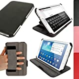 """iGadgitz Premium Executive Black PU Leather Case Cover for Samsung Galaxy Tab 3 8.0"""" SM-T310 with Multi-Angle Viewing Stand + Auto Sleep/Wake + Hand Strap + Screen Protector"""