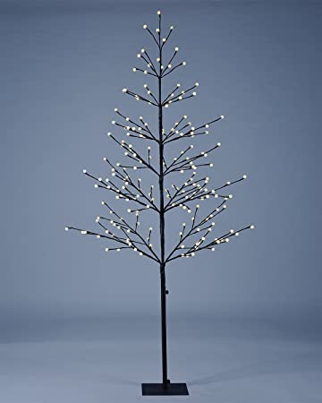 new concept 16d73 6683c Lightshare 6 ft. LED Tree - Northern Lights Pre-lit Tree with 198 LED  Lights, 6 Feet, Brown Finish, Warm White Lights, Starlit Snowballs, Iceball  ...
