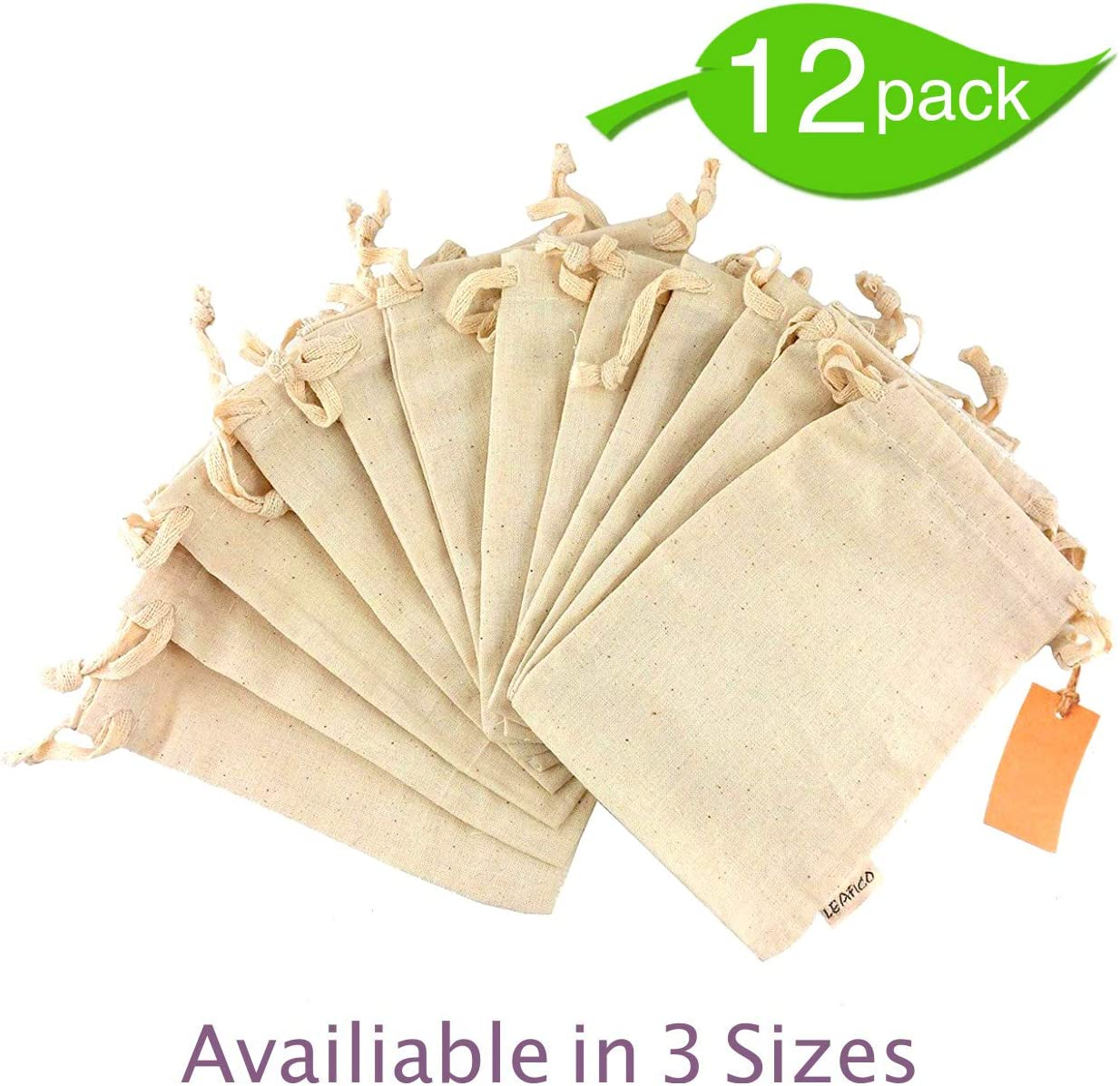 12 Pcs Organic Cotton Reusable Produce Bags, Biodegradable Eco-Friendly Bulk Bin Bags for Food - Small 5x7 - Sachet Bags, Fruit Vegetable Storage, Drawstring Pouch - Produce Linen Bag by Leafico