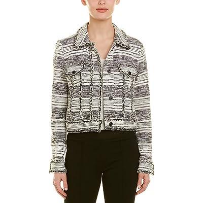 1.STATE Cropped Tweed Jacket Black Size Medium at Amazon Women's Clothing store