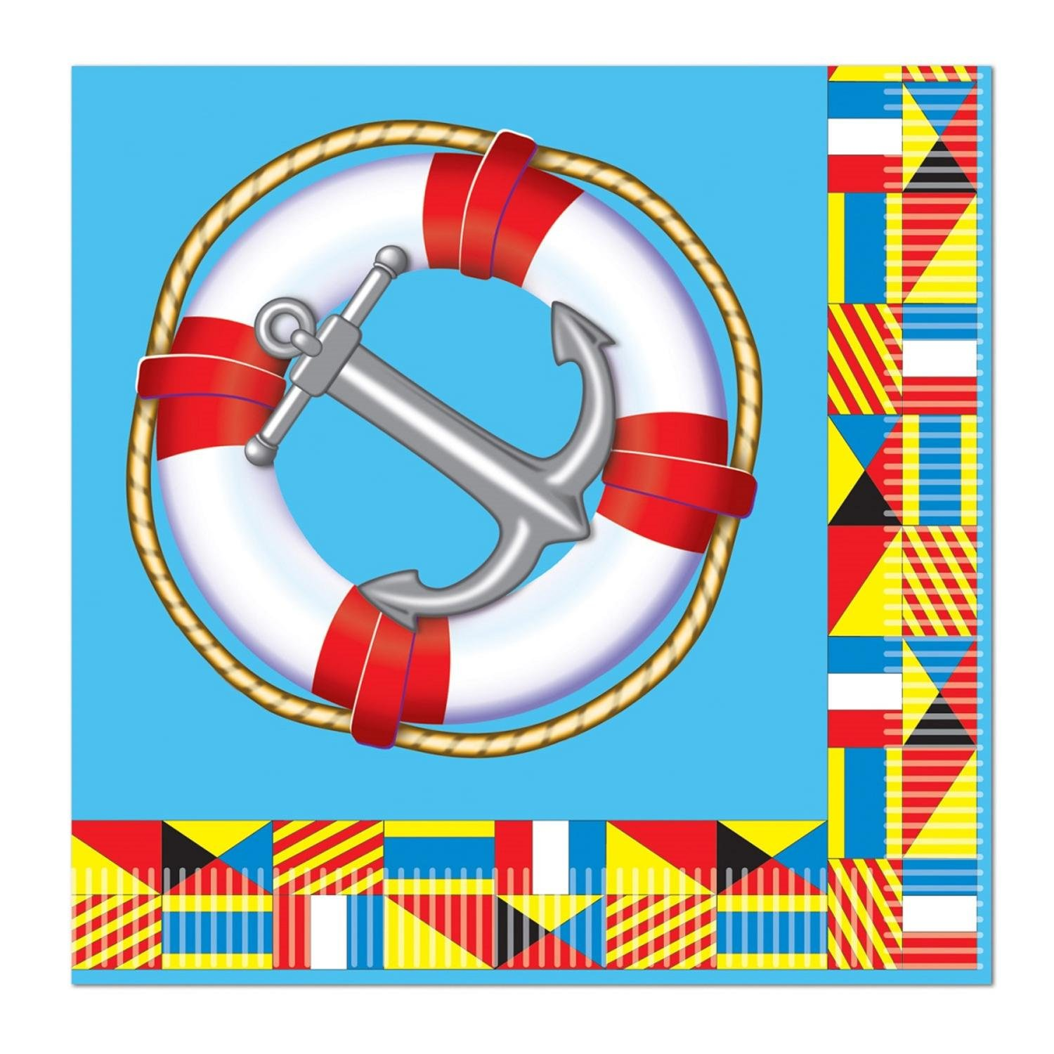 Club Pack of 192 mulit-colored Nautical 2-ply使い捨てLuncheon Napkins B016VQ55VK