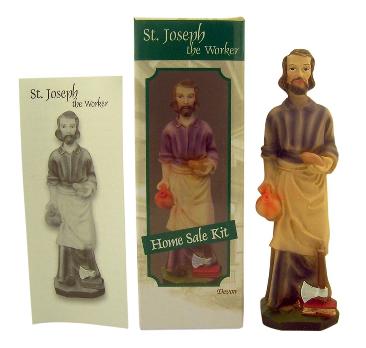 5 Inch Saint Joseph the Worker Home Sale Kit with Statue and Instructions