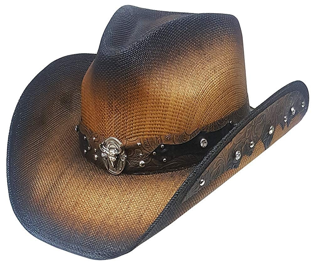 149302cc1cad78 Modestone Straw Cowboy Hat Longhorn Bull Rhinestones Appliques Brown: Amazon.co.uk:  Clothing