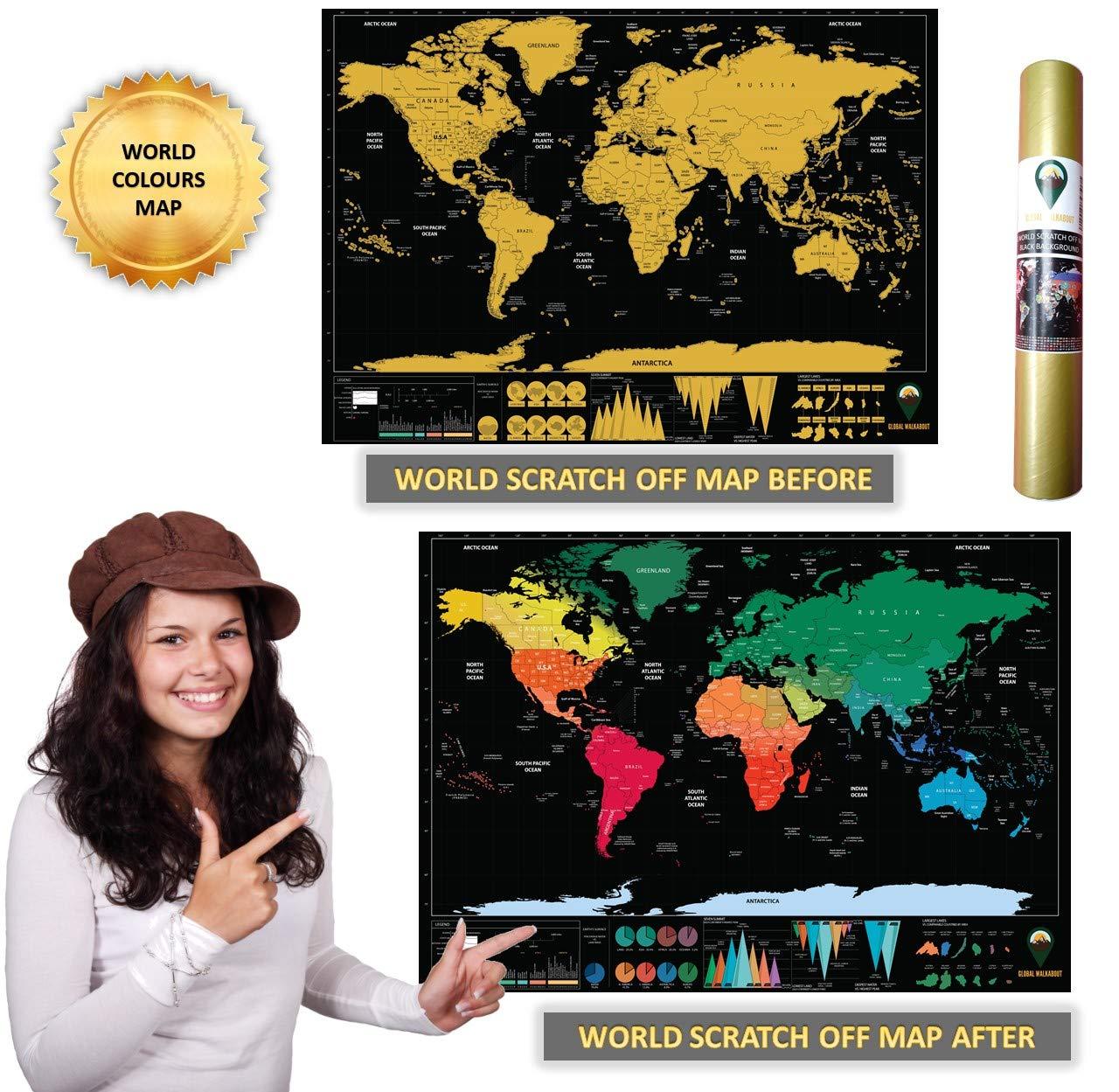 con Sfondo colorato Mappa del Mondo da grattare Global Walkabout Ideale Come Regalo di Viaggio Bianco Formato da Viaggio