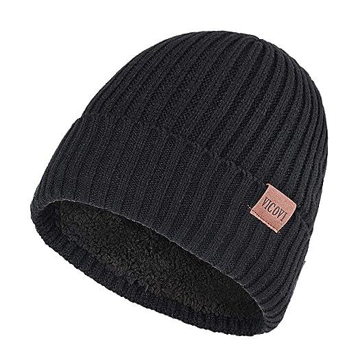 3333c14f2 VICOVI Winter Knit Beanie Hats for Men and Women Warm Fleece Stretch  Slouchy Skull Cap