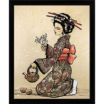 Pitaara Box Japanese Tea Ceremony Canvas Painting Black Frame 12 X 14 6inch Amazon In Home Kitchen