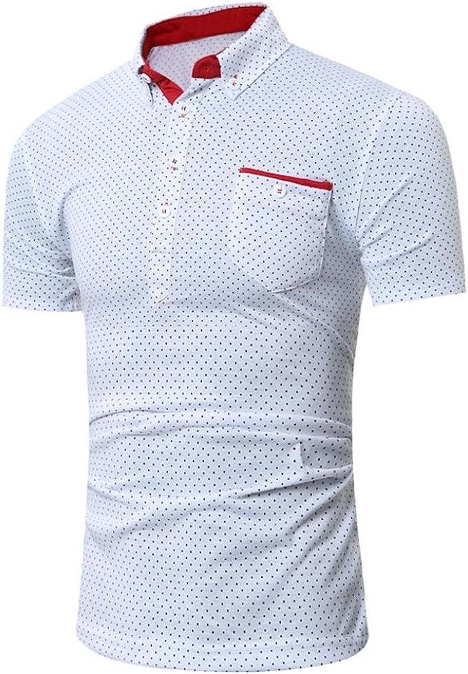 Malloom Camisa Delgada Camisa de Manga Corta occasionnelle para Hombre Empresa impresión por Puntos Bata Alto: Amazon.es: Ropa y accesorios